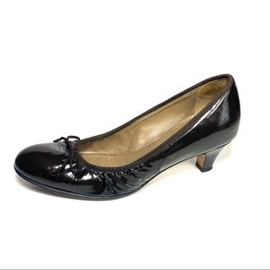 Anyi Lu Pumps Brown Patent Leather Bow Size 39